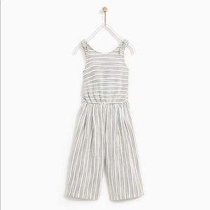 Zara Girl Crop Pinstripe Jumpsuit